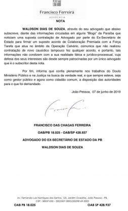 Paraíba Online • Ex-secretário da PB, investigado pela 'Calvário', nega acordo de delação premiada