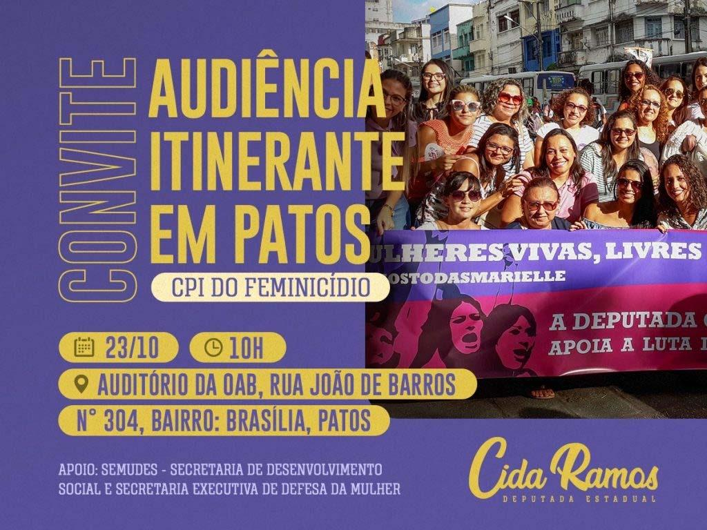 Paraíba Online • CPI do Feminicídio da ALPB realiza audiência itinerante em Patos