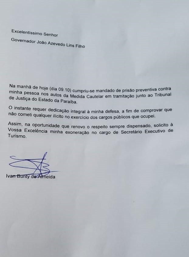 Paraíba Online • Secretário preso na Operação Calvário renuncia ao cargo