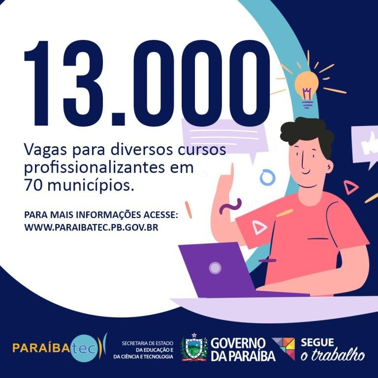 Paraíba Online • Paraíbatec abre inscrições para 13 mil vagas em cursos profissionalizantes