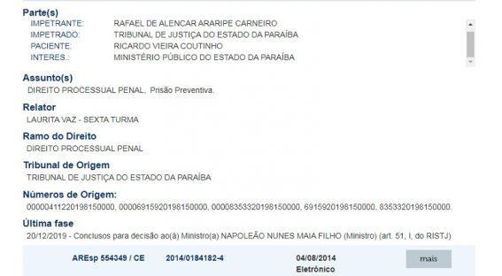 Paraíba Online • STJ define novo ministro para julgar pedido de Ricardo Coutinho