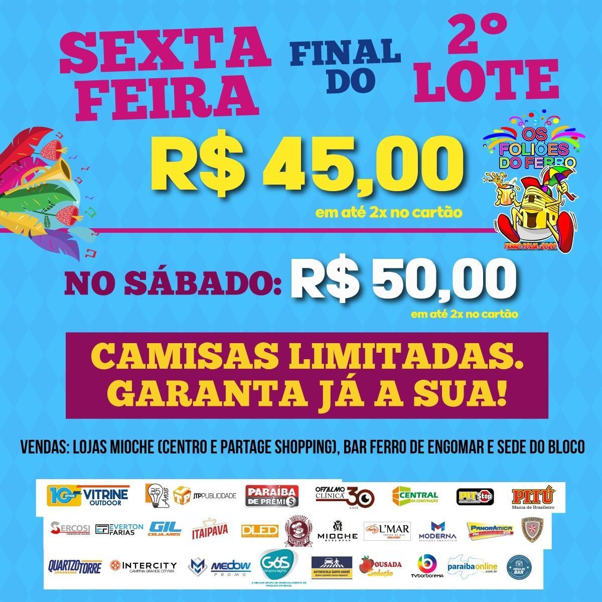 Paraíba Online • Segundo lote do Bloco 'Foliões do Ferro' vai até esta sexta