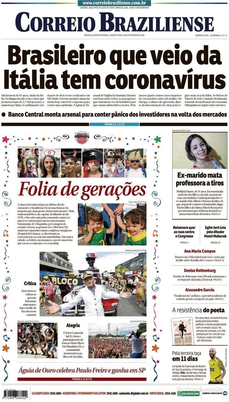 Paraíba Online • Manchetes desta quarta-feira dos principais jornais nacionais