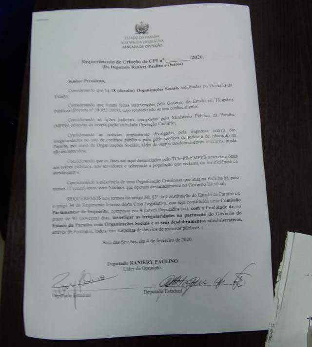 Paraíba Online • Além de impeachment, oposição na ALPB protocola a CPI da Calvário