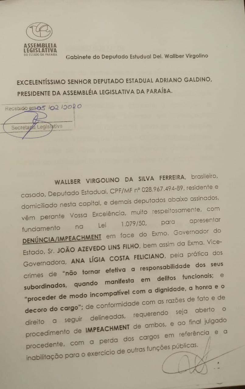 Paraíba Online • Protocolado na ALPB pedido de impeachment de João Azevêdo e de sua vice