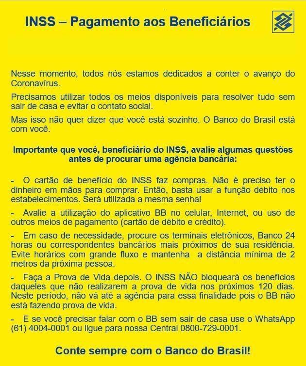 Paraíba Online • Atenção, segurados do INSS: vejam a orientação do Banco do Brasil