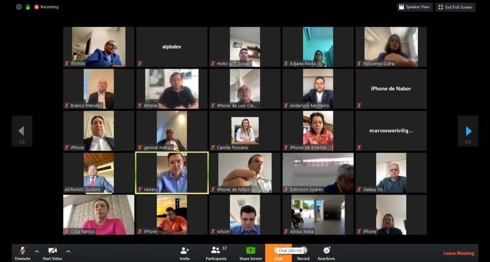 Paraíba Online • Em sessão virtual, ALPB aprova estado de calamidade pública contra o coronavírus