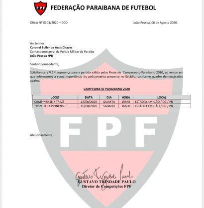 Paraíba Online • Federação marca datas da decisão do Paraibano entre Treze e Campinense