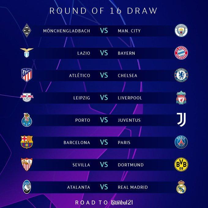Paraíba Online • Champions League: confira os duelos das oitavas de final