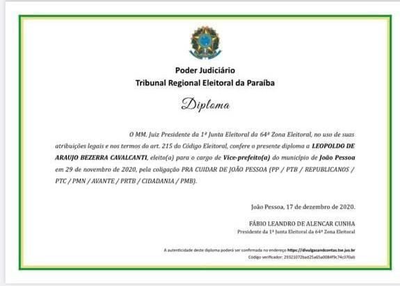 Paraíba Online • Cícero e Leo Bezerra são diplomados prefeito e vice de João Pessoa
