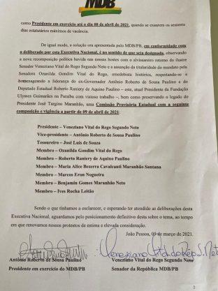 Paraíba Online • MDB da Paraíba acerta sua nova direção e inclui filha de ex-senador