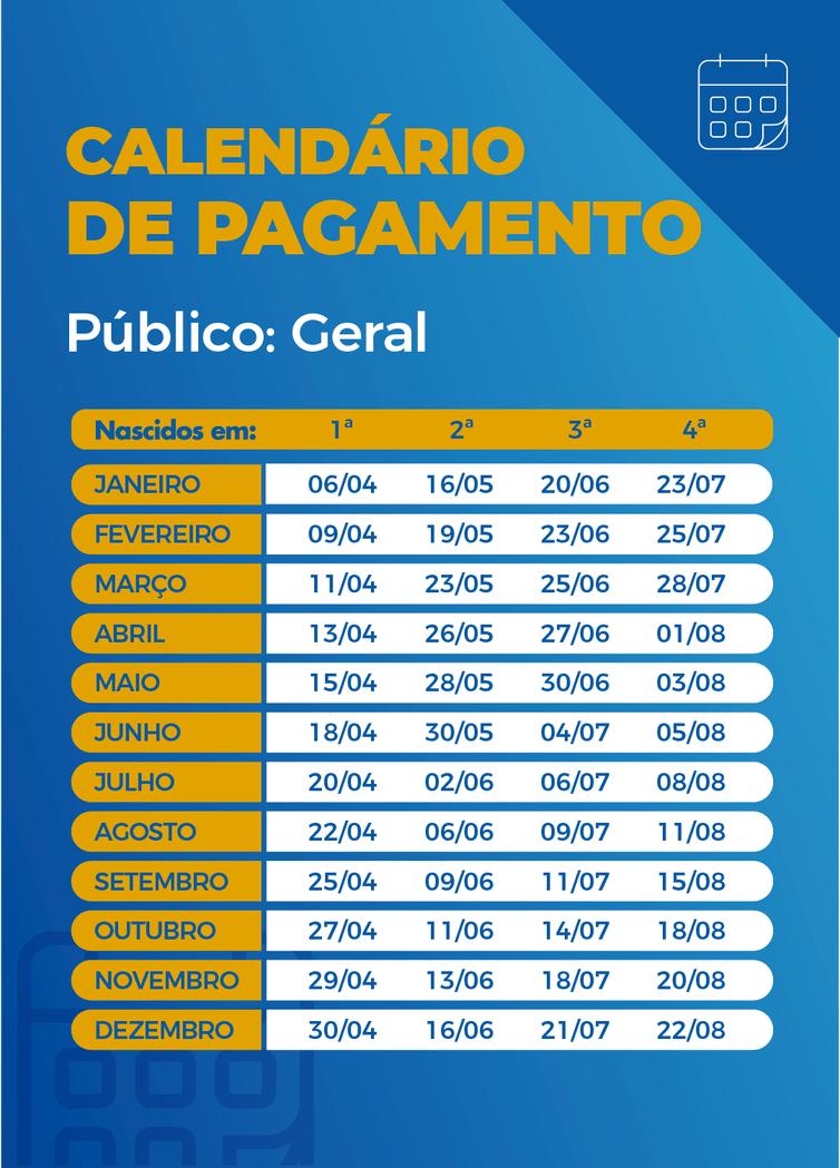 Calendário de pagamentos das parcelas do auxílio emergencial (Arte/Agência Brasil)